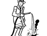 Dibuix de Bomber sufocant foc  per pintar