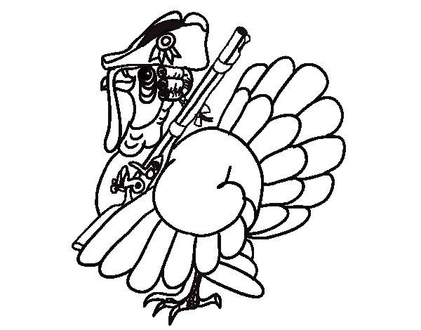 Dibuix de Gall dindi amb escopeta per Pintar on-line