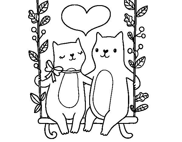 Dibuix de Gatets enamorats per Pintar on-line