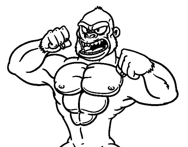 Dibuix de Goril·la fort per Pintar on-line