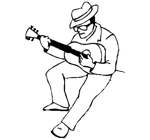 Dibuix de Guitarrista amb barret  per Pintar on-line
