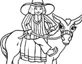 Dibuix de Indi montant en burro per pintar