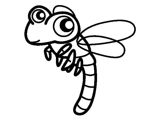 Dibuix de Libèl·lula volant per Pintar on-line