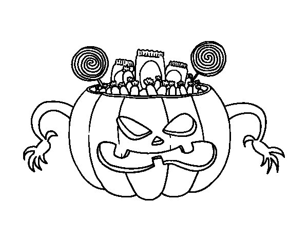 Dibuix de Llaminadures de Halloween per Pintar on-line