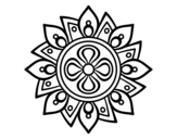 Dibuix de Mandala flor senzilla  per pintar