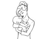 Dibuix de Mare bressolant el seu nadó per pintar