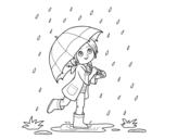 Dibuix de Nena amb paraigües sota la pluja per pintar