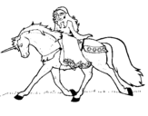 Dibuix de Princesa en unicorn  per pintar