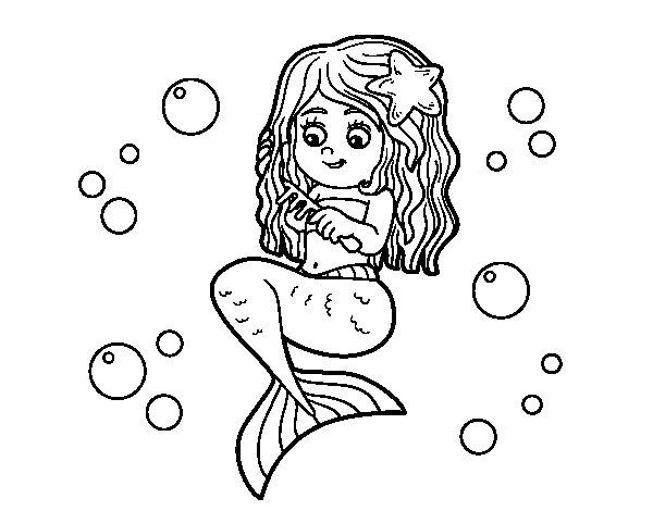 Dibuix de Sirena pentinant-se per Pintar on-line