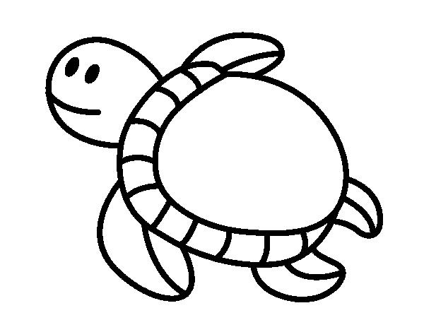 Dibuix de Tortuga nedant per Pintar on-line - Dibuixos.cat