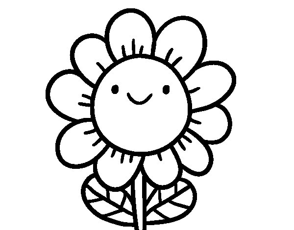 Dibuix de Una flor somrient per Pintar on-line
