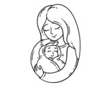 Dibuix de Una mare i el seu nadó per pintar