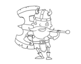 Dibuix de Víking amb gran destral per pintar