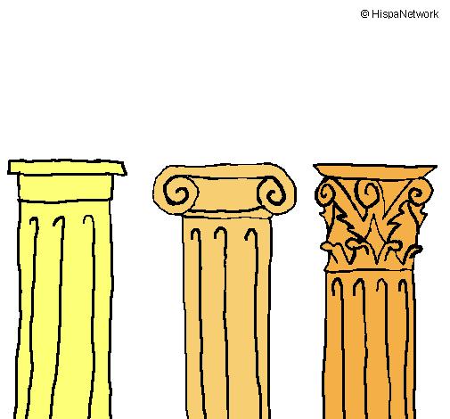 Dibuix Capitell dòric, jònic i corinti pintat per Carlota