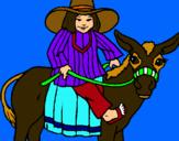 Dibuix Indi montant en burro pintat per Julia manero