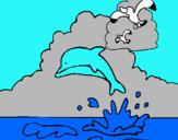 Dibuix Dofí i gavina pintat per Natalia