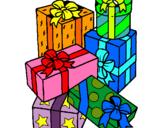 Dibuix Una pila de regals pintat per nadal