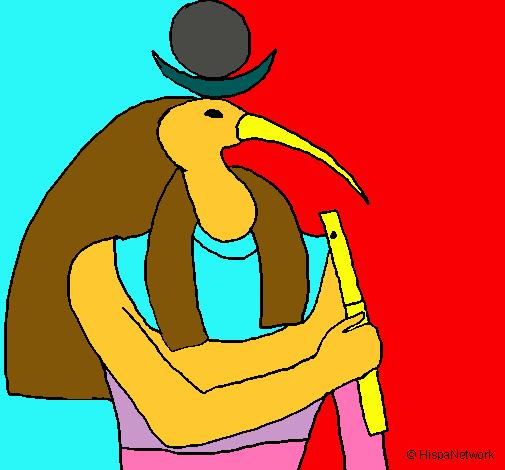 Dibuix Thot pintat per entic ejipte