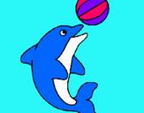 Dibuix Dofí jugant amb una pilota pintat per mandala de ana