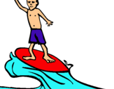 Dibuix Surfista pintat per snoopy
