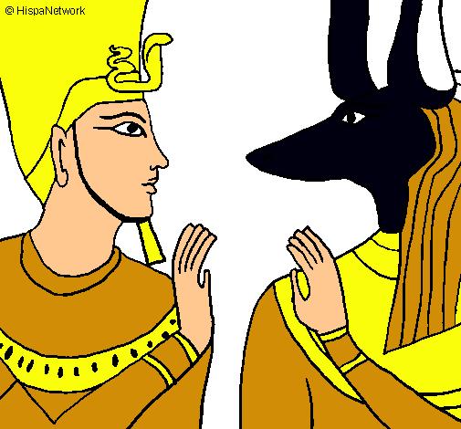 Dibuix Ramsès i Anubis pintat per saurovixpenix