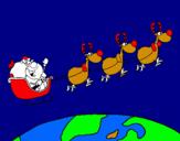 Dibuix Pare Noel repartint regals 3 pintat per ELISA 8AÑOS