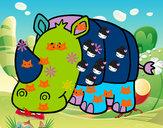 Dibuix Rinoceront nadó pintat per Pilar