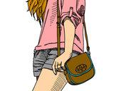 Dibuix Noia amb bossa pintat per helena1123