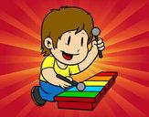 Dibuix Nen amb xilòfon pintat per ona111