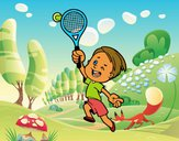 Nen jugant a tennis