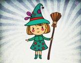 Nena bruixa de Halloween