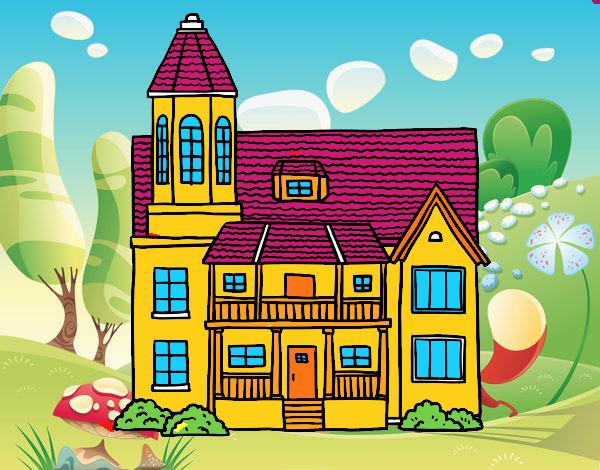Casa de dos pisos amb torre