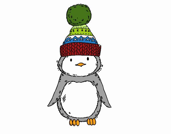 Pingüí amb gorra d'hivern