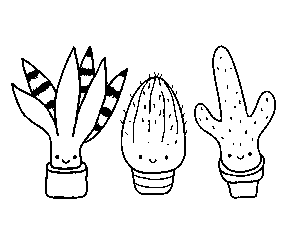 Dibuix de Mini cactus per Pintar on-line